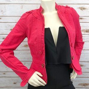Elevenses Linen Red Blazer Jacket Sz 2 ::J10